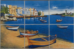 Fishing Village mosaic  tiles. Fishing Village mosaic  ceramic tiles Stock Photography