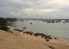 Fishing village Mui ne. A plenty of boats on the sea Stock Photo