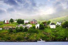 Fishing village in Newfoundland. Quaint seaside fishing village in Newfoundland Canada stock photos