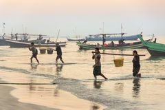 Fishing Village - Ngapali Beach - Myanmar (Burma) Stock Photos