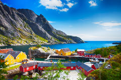 Fishing village in Nusfjord on Lofoten Islands in Norway Royalty Free Stock Image