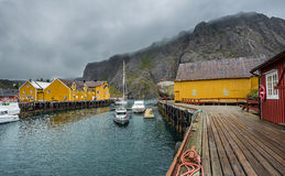 Fishing village of Nusfjord on Lofoten islands, Norway Royalty Free Stock Photography