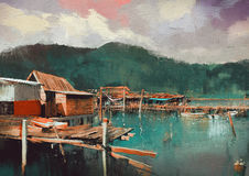 Fishing village painting. Seascape painting showing old fishing village,digital painting Royalty Free Stock Photography