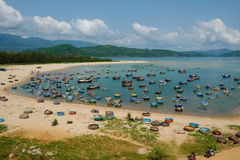Fishing village, Phu Yen, Viet Nam, Vietnam seascape. Amazing scene at fishing village in Phu Yen, Viet Nam, crowded of circle boat floating on water, valley of stock image