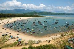 Fishing village, Phu Yen, Viet Nam, Vietnam seascape. Amazing scene at fishing village in Phu Yen, Viet Nam, crowded of circle boat floating on water, valley of royalty free stock photos