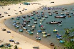 Fishing village, Phu Yen, Viet Nam, Vietnam seascape. Amazing scene at fishing village in Phu Yen, Viet Nam, crowded of circle boat floating on water, valley of stock photo