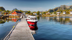 Fishing Village Port. Small fishing village port with ships in Norway Royalty Free Stock Images
