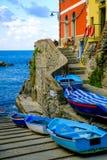 Fishing village Riomaggiore stock photo