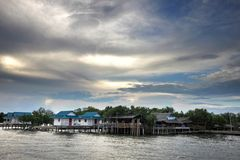 Fishing village in the river Royalty Free Stock Image