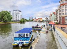 Fishing Village and a River station. Kaliningrad, Russia. Royalty Free Stock Image