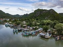 Fishing village in rural thailand stock images