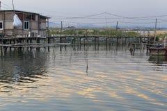 Fishing village shack at twilight Stock Photo