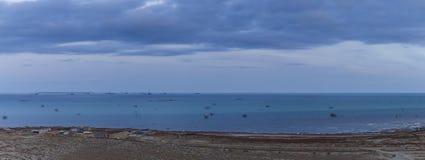 Fishing village on the shores of the Caspian Sea near Baku. Nature royalty free stock photos