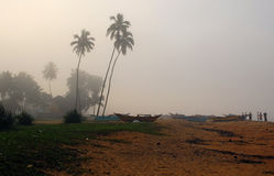 Fishing Village in Sri Lanka on a Foggy Morning Royalty Free Stock Photos