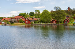 Fishing village in Stockholm archipelago. Royalty Free Stock Photo