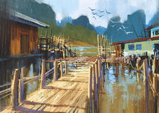 Fishing village in summer. Landscape painting of fishing village in summer Royalty Free Stock Photos