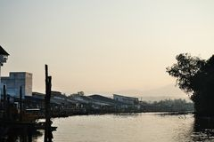 Fishing village sunrise Royalty Free Stock Images