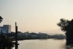 Fishing village sunrise Royalty Free Stock Images