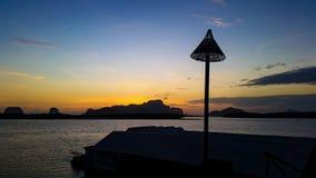 Fishing village and sunrise at Samchong-tai, Phangnga, Thailand Royalty Free Stock Image