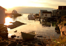Fishing village sunset Stock Photos