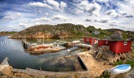 Fishing village in Sweden. stock photos