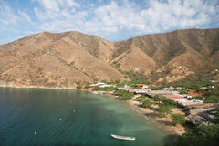 Fishing village Tagang. High angle shot of an idyllic fishing village Taganga. Colombia Royalty Free Stock Image
