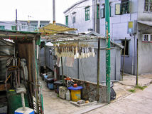 In the fishing village of Tai O Hong Kong, fish are hanging on a scaffolding between small buildings Stock Photo