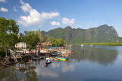 Fishing village in Thailand. Fishing boats in a small village on the Adaman sea in Thailand Royalty Free Stock Photos