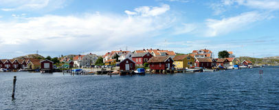 Fishing Village. This is a typical fishing village of the Swedish West Coast Royalty Free Stock Image
