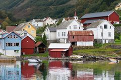 Fishing Village of Undredal. On the shore of Aurlandsfjord, Sognefjord, Norway Stock Photography