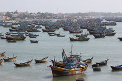 Fishing village. Vietnam. Fishing village of Mui Ne, Vietnam. Ships ready for an evening out to fish Royalty Free Stock Images