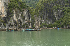 Fishing Village on Water. A Fishing Village on the water on Ha Long Bay Viet Nam Stock Images