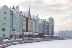 Fishing Village in winter Stock Image