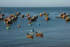 Fishing village with wooden boat and coracle Stock Photo