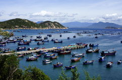 Vietnam fishing village. A fishing and lobster farming village nested in Cam Ranh bay, Vietnam Stock Images