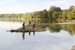 Fishing on Vistula river Royalty Free Stock Image
