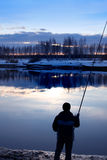 Fishing on Volga canal Royalty Free Stock Photo