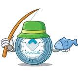Fishing Waves coin mascot cartoon. Vector illustration Royalty Free Stock Photography