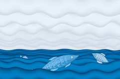 Fishing weather (vector). Fishes jumping into the ocean stock illustration