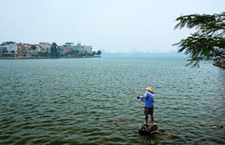 Fishing on West Lake Royalty Free Stock Images
