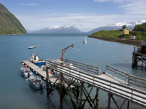 Fishing wharf on Lyngenfjord Royalty Free Stock Photography