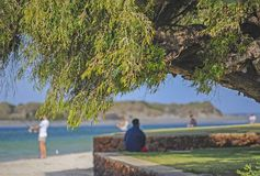 Person Resting in the Shade, While others Fish at the mouth of the Blackwood River. stock photo