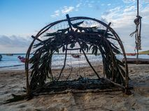Fishing wicker trap. Thailand royalty free stock photography