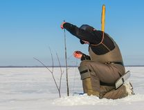 Fishing on the Rybinsk reservoir in the Yaroslavl region stock photo