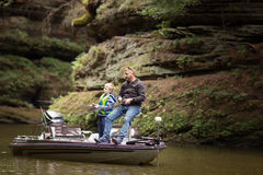 Fishing in the Wisconsin River Royalty Free Stock Image