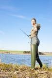 Fishing woman Royalty Free Stock Photography