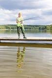 Fishing woman Stock Photo
