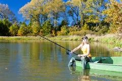 Fishing woman Stock Photography