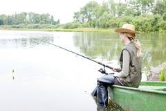 Fishing woman Royalty Free Stock Image