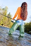 Fishing woman Stock Photography